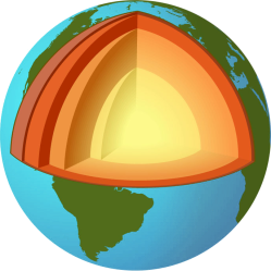 Cut away of the Earth showing layers