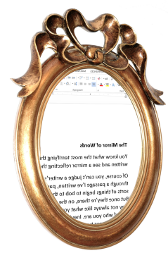 Mirror showing text from a Word document