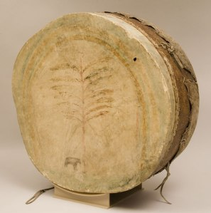 An old leather skin drum