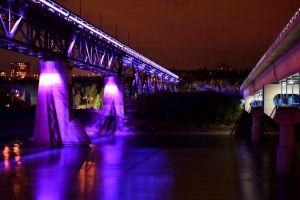 Bridge with purple lights