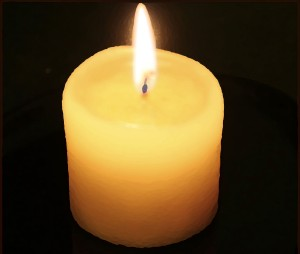 A thick candle.