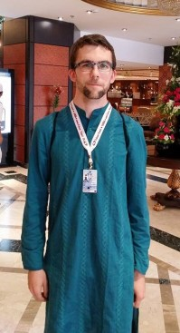 Aaron wearing a kurta