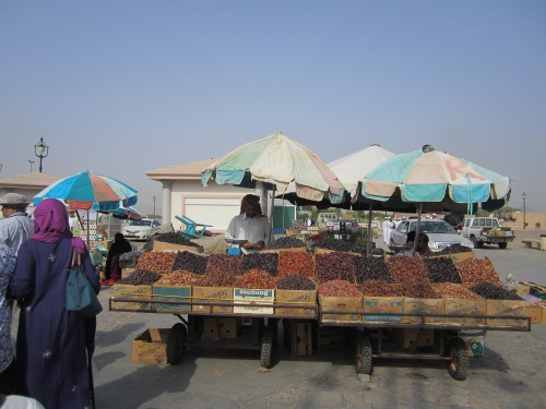 Date seller at a market stand