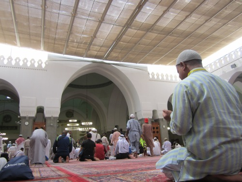 The prayer area in Masjid Quba