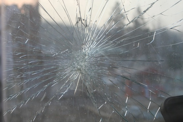 Broken glass pane