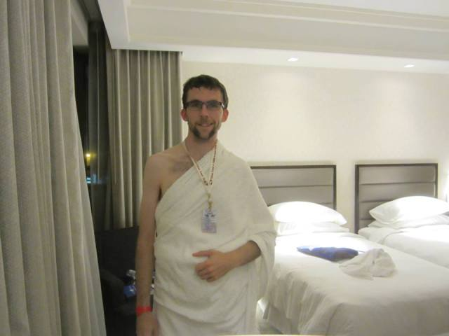 Aaron wearing ihram