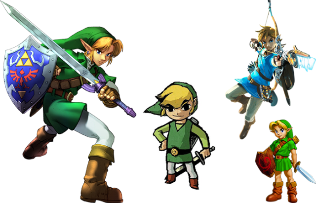 Several depictions of Link in various Zelda games