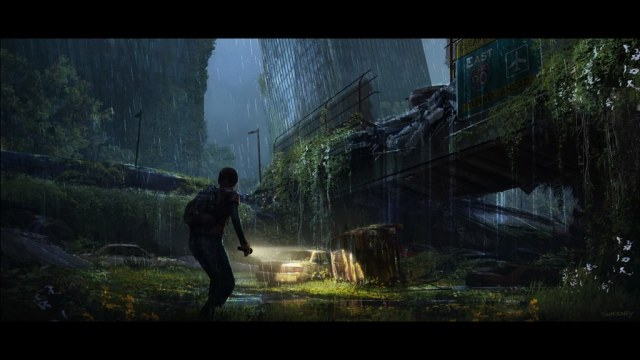 Concept art of a girl walking through a post-apocalyptic city in the rain, holding a flashlight.